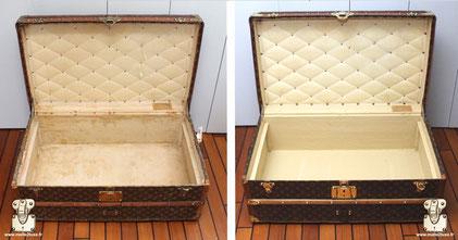 Malle cabine Louis Vuitton de 1920 Le capiton a était conservé l'entoilage en coton refait à l'identique.