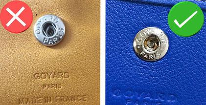 reconnaitre bouton pression métallique Goyard vrai sac contrefacon
