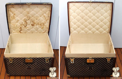 Malle Louis Vuitton Circa 1890 Restauration partiel de l'intérieur dans nos ateliers, seul le capiton sera restauré. Les matériaux sont les memes, après restauration il n'est pas possible de savoir que celui ci a était refait.
