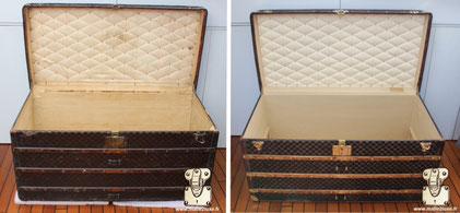 Malle courrier Louis Vuitton Circa 1895 l'intérieur a était entièrement démonté et restauré.