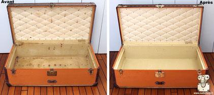 Malle cabine Louis Vuitton Intérieur entièrement refait a l'identique