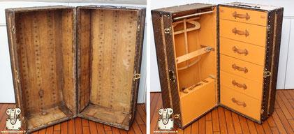 Malle Wardrobe Louis Vuitton de 1914 Restauration extreme l'intérieur est totalement manquant.