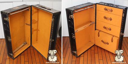Malle Wardrobe Louis Vuitton intérieur partiellement restaurée.  Les tiroirs manquant on etait refait et recouvert de toile Vuittonite orange.