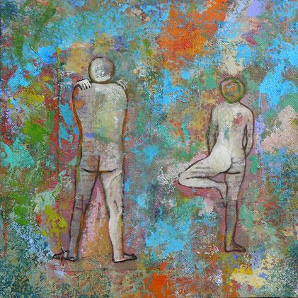 58 - bois / woodply - 45x45 - Homme de dos avec femme.