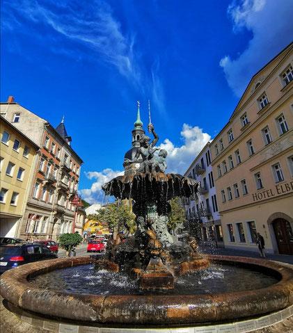 Sächsischen Schweiz, Brunnen, Bad Schandau Markt, zentrale Lage, Ausflugspunkte, Hessen, Stadt