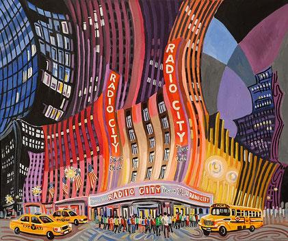 RADIO MUSIC CITY HALL (NEW YORK). Huile sur toile. 60 x 73 x 3,5 cm.