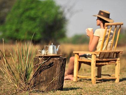 Mujer con sombrero sentada de espaldas en el campo tomando un té
