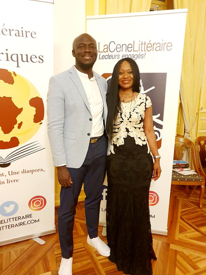Flore-Agnes Nda Zoa with author Elnathan John at the Les Afriques prize ceremony
