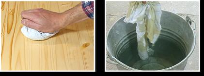Autragen von Ölen. Wichtig: Überschüssiges Öl nach der Einwirkzeit mit einem trockenen Lappen gründlich abreiben. Gebrauchten Lappen feuersicher aufbewahren!