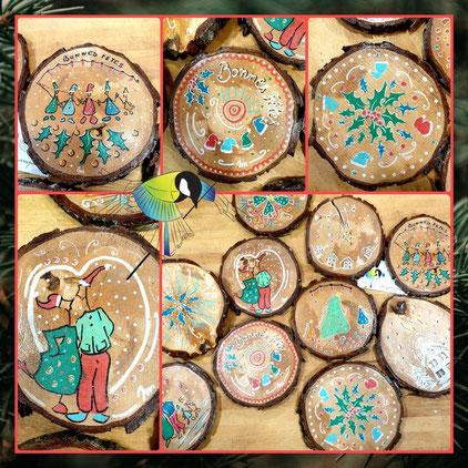 avec presque rien, décor de Noël, recyclage, rondin de bois, peins à la main, thonon, sciez, leman, chablais, crea terra, Noel, cadeau