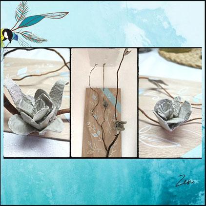 cadre zen, nature, Avec presque rien, recyclage, rénovation d'objet, Sciez, Thonon, Haute- savoie, Leman, créa terra, détournement d'objet, fleur pérenne, fleur éternelle, boîte d'œuf