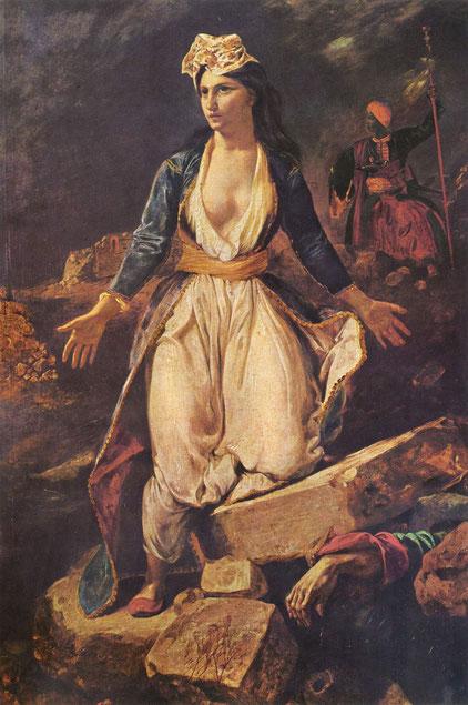 《ミソロンギの廃墟に立つギリシア》1826年