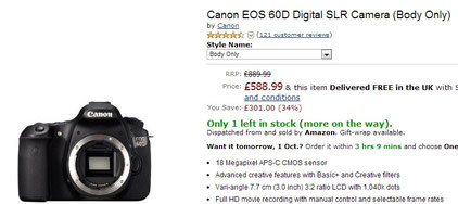Canon EOS 60D Digital SLR Camera (Body Only) price in UK
