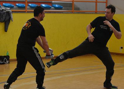 Allenamento dello stop kick e combinazione durante uno stage