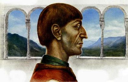 MAINARDO II, CONTE DEL TIROLO, DUCA DI CARINZIA E DI CARNIOLA, CONTE DI GORIZIA (1238-1295), di A.Molino. Carboncino e olio su tela. Da BELL'ITALIA e BELL'EUROPA, 1995