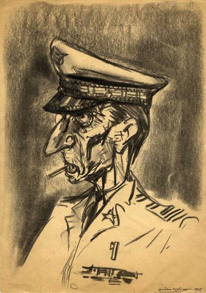 AMMIRAGLIO GOLPISTA. Carboncino su carta, 1975
