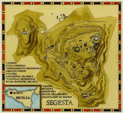 MAPPA DI SEGESTA, di A.Molino. Ink on paper. Da BELL'ITALIA, 1988