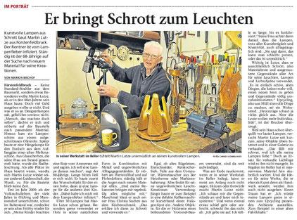 """Martin Lutze """"Er bringt Schrott zum Leuchten"""" Porträt im Münchener Merkur"""