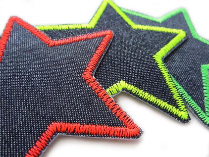 Bild: Stern Jeansflicken zum aufbügeln neon, Flicken für Jeanshose