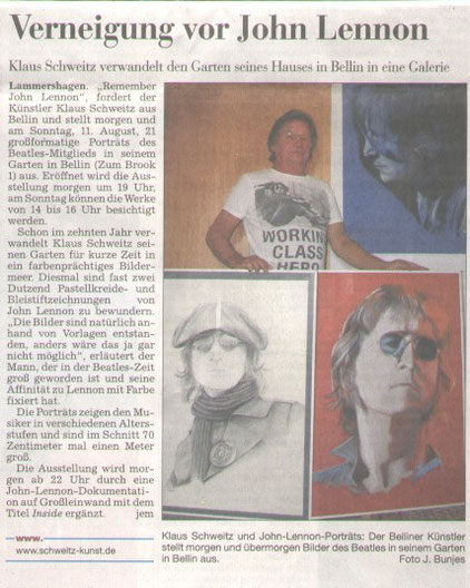 Remember John Lennon ,Kieler Nachrichten,8.8.2013