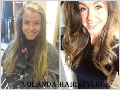 Voor en Na. Dominique Balayage colouring en FlipIn extensions