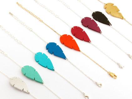 sarayana, création bijoux, bijoux cuir, bracelet cuir, bracelet plume, fait main, bracelet turquoise, plume de cuir,