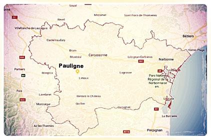 """carte géographique de l'Aude et situation de la maison d'hôtes """"Au pied du figuier"""""""