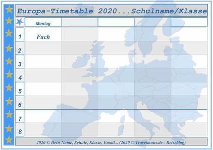 Europa-Timetable... am PC ausfüllen und ausdrucken.