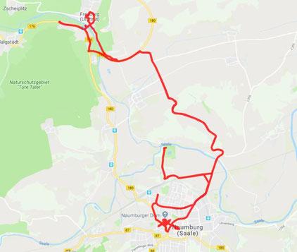 Tagesstrecke knapp 40 km heute zwischen Naumburg und Freyburg.