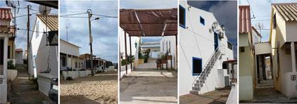 Fahrt entlang der Häuserfront auf Praia de Faro
