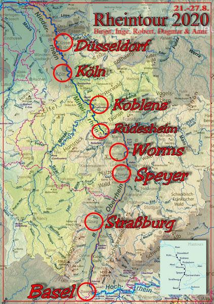 Unsere Flußkreuzfahrt auf dem Rhein vom 21.-27.8.2020 Quelle: https://commons.wikimedia.org/wiki/File:Flusssystemkarte_Rhein_02.jpg