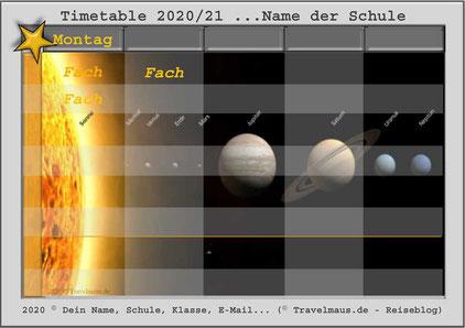 Planeten Timetable... am PC Fächer ergänzen!