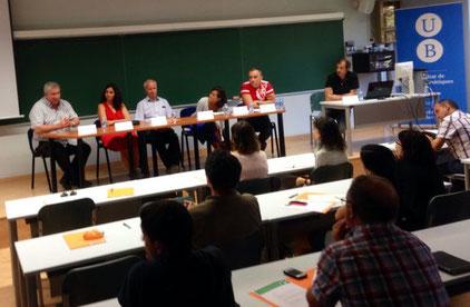 Lluc Cabanach, Pere Cruells, Vanesa Daza, Jaume Pujol, Teresa Sancho i Pere Cruells a la taula rodona
