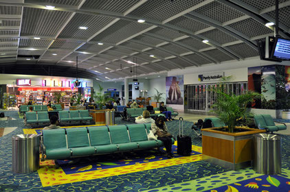 The departure lobby of Cairns Airport around 3:00 a.m.