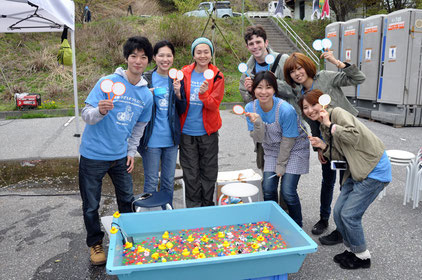 At the tank with some of the volunteers in Rikuzen-Takata