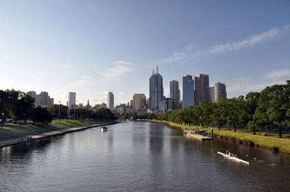 Rowers on the Yarra before the CBD