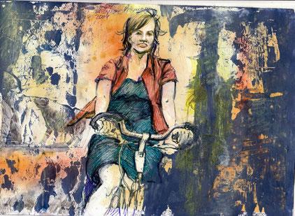 Bild Frau auf Fahrrad
