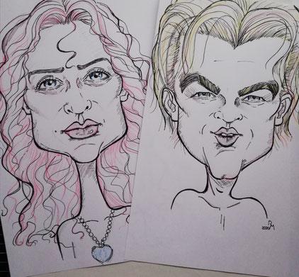 Karikatur von Kate Winslet und Leonardo Dicaprio aus dem Film Titanic