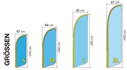 Beachflag Groessen von 250 cm bis 455 cm