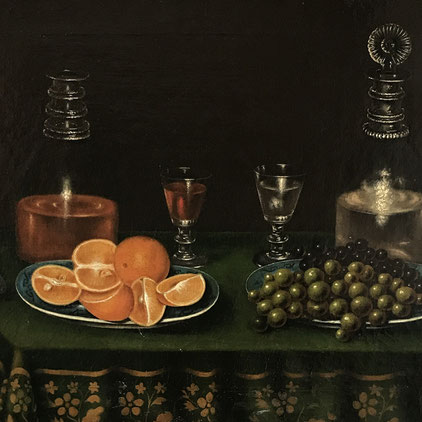 Northern European 18th century still life with oranges and wine