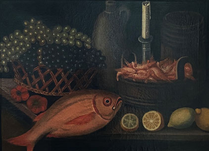 Late 19th century naive fish and fruit still life oil on canvas