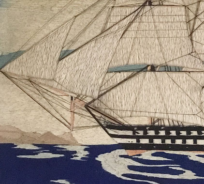 A large and handsome Sailors woolwork c 1850