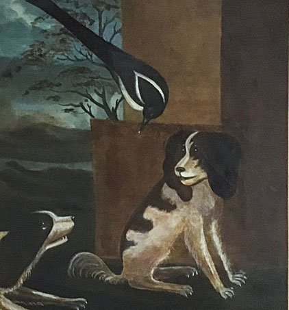 Naive folk art oil spaniels and a jay. 18th century