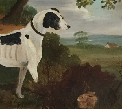 Naive portrait of a hound with hiding rabbit