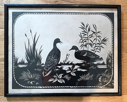 Early 19thc Cut paper Cut paper silhouette of mallards near water