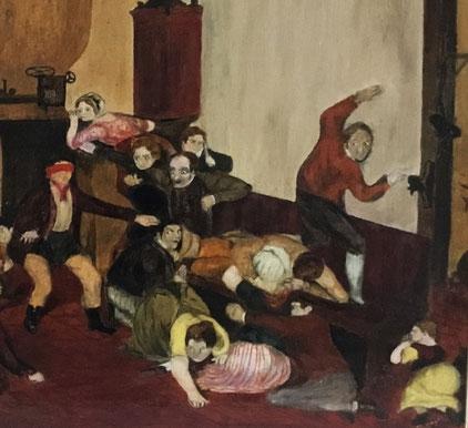Naive folk art oil of Blind Man's Bluff