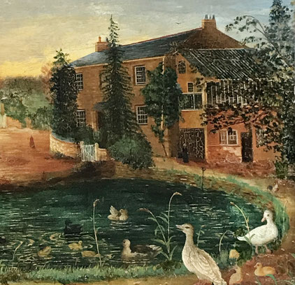Naive view of Pool Cottage Lostwithiel, dated 1874 presented to Thos E Hawken, Watchmaker