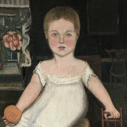 Naive portrait of a young girl, American? mid 19th century