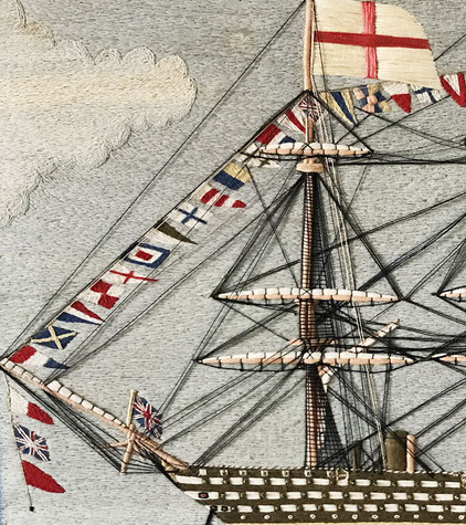 Sailors woolwork or woolie on parade with flags flying 1850