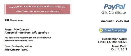 """Mio Quadro - Gift card"""